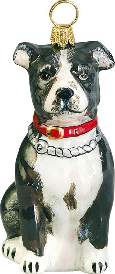 The Pet Set Black & White American Staffordshire Terrier Pit Bull Glass Christmas Ornament - Handcrafted in Europe by Joy to the World Collectibles