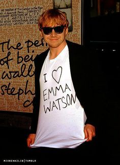 "Rupert Grint on the premiere of ""The Perks Of Being A Wallflower"" wearing Emma Watson t-shirt haha aw"