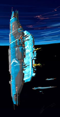 The sci-fi art of Homeworld - space station and approaching ships Spaceship Art, Spaceship Design, Spaceship Concept, Concept Ships, Concept Art, Cyberpunk, Nave Star Wars, Sci Fi Rpg, Sci Fi Spaceships
