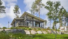 Landscape Gardeners Are Like Outside Decorators! Honka Kippari Holiday Home. Honka Log Homes. Cabin Kits, Large Windows, House In The Woods, Log Homes, Logs, Old Houses, House Plans, Cottage, House Design