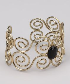 Take a look at this Black Stone & Gold Swirl Cuff by Sophisticated Baubles: Jewelry on #zulily today!