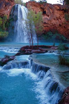 Havasu Falls in Havasupai, Arizona (Native American nation in the basin of Grand Canyon)