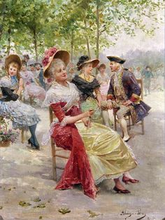 Ladies and Gentlemen Seated in a Park ~ Mariano Alonso Pérez ~ (Spanish: Spanish Painters, Alonso, Lady And Gentlemen, 19th Century, Art Photography, Vintage Fashion, Park, Illustration, Prints