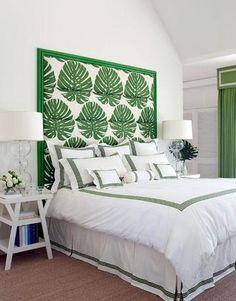 Suzie: Christina Murphy Interiors - White & green beachy bedroom design with white & green palm ...