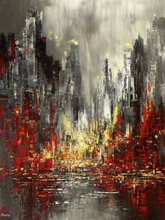 "Buy ""Urban Epic"", a Acrylic on Canvas by Tatiana Iliina from Canada. It portrays: Cities, relevant to: skyline, Cityscape, new york, NYC, chicago, city, boston, expressionism, abstract, impressionism, original Original Palette Knife Cityscape Painting. Due to the large size of this canvas, it will be shipped unmounted in a roll, with all the original stretcher bars and crossbars included. Sides of the canvas are painted black and can hung with or without frame. Protective coat of sati..."