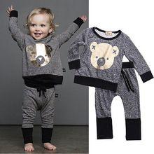 Christmas bear Infants baby clothing boys girls tracksuits cartoon shirt+ pants 2pcs kids boy clothes Children clothing set(China (Mainland))
