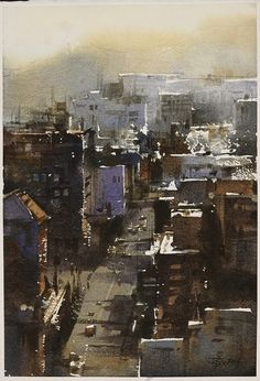 Watercolour by Chien Chung Wei, Watercolor City, Watercolor Landscape Paintings, Watercolor Artists, Watercolour Painting, Painting & Drawing, Watercolors, Watercolor Architecture, Art And Architecture, Art Aquarelle