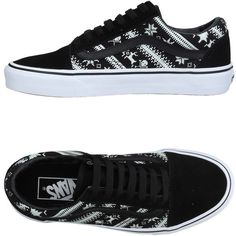 Vans Sneakers ($66) ❤ liked on Polyvore featuring shoes, sneakers, black, vans trainers, two tone shoes, vans sneakers, animal trainer and black leather trainers