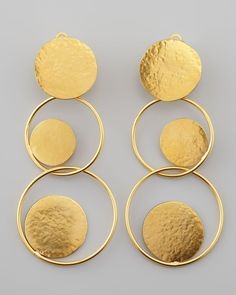 "24-karat yellow gold-plated brass. Linked circle drops with concentric disc details. Clip backs. 3 1/2""L. Made in France."