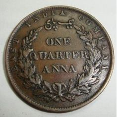 East India Company- one quarter anna- 1858 - copper coin Copper Coin, Uncirculated Coins, Old Coins, Coin Collecting, Grammar, Stamps, Anna, Notes, Indian