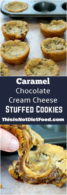 Chocolate Chip Cookies stuffed with Caramel and Chocolate Cream Cheese. Easy dessert recipe using Pillsbury chocolate chip cookie dough. Chocolate chip cookie cups made in muffin tins. Brownie Desserts, Just Desserts, Delicious Desserts, Yummy Food, Delicious Cookies, Weight Watcher Desserts, Carmel Chocolate Chip Cookies, Carmel Cookies, Gourmet