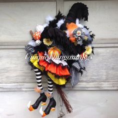 Hey, I found this really awesome Etsy listing at https://www.etsy.com/listing/246333347/halloween-witch-wreath-candy-corn-flying