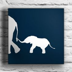 Baby Elephant with Mother Custom Painting. $45.00, via Etsy.