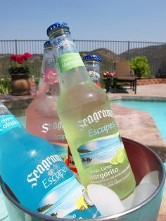 Seagram's Escapes by the pool; Jamaican me happy, calypso colada, and lime Margarita Pool Party Drinks, Party Drinks Alcohol, Drinks Alcohol Recipes, Fun Drinks, Yummy Drinks, Alcoholic Drinks, Cocktails, Alcohol Aesthetic, Frozen Drinks