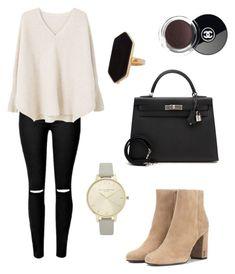 Untitled #25 by chanelsugababy on Polyvore featuring polyvore fashion style MANGO Yves Saint Laurent Hermès Olivia Burton Jaeger Chanel clothing