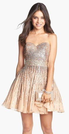 Embellished Silk Fit & Flare Dress @nordstrom