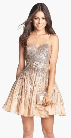 Embellished Silk Fit & Flare Dress @nordstrom