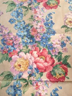 Beautiful Vintage 1940's Sanderson Fabric - Beautiful Floral Delphinium Design