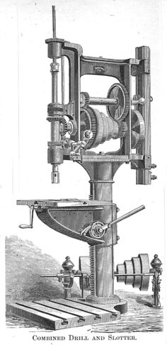 drill press ames 1.jpg 416 × 859 pixels. That odd looking attachment on the opposite side of the table is actually a slotter. These multiple machine tools were common in the late 1800s and early 1900s