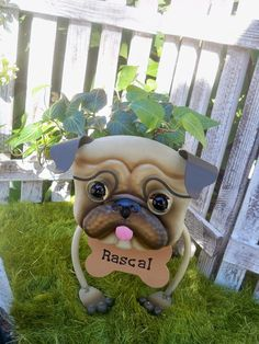 Personalized Pug Garden Planter with English Ivy- Garden Decor for the Pet Lover-