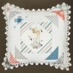 Fawn Winter Patchwork Pillow