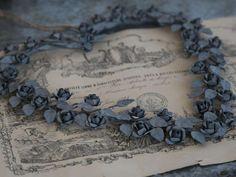 Couronne fleur métal rose forme coeur shabby