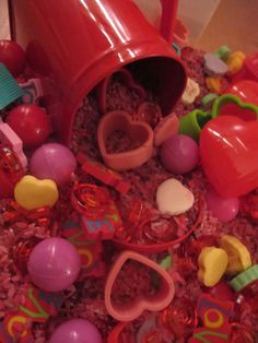 Valentines Day Sensory Tub for preschoolers