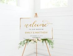 Welcome sign wedding, Gold welcome sign, Wedding welcome sign modern, Printable welcome sign, Welcome to our beginning sign Wedding Frames, Wedding Gold, Dream Wedding, Wedding Welcome Signs, Wedding Signs, Wedding Ideas, Pop Up, Sign Templates, Gold Diy