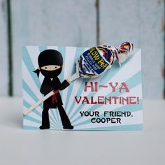 Custom Printable Ninja Lollipop Valentine by sproutmyparty on Etsy, $7.00