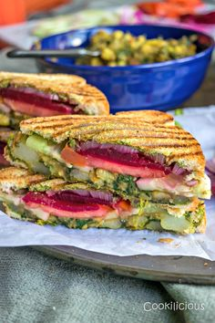 Bombay Style Veg Masala Sandwich Recipe - Bombay Style Veg Masala Toast Sandwich is a classic & famous Indian street food recipe. Loaded with veggies & chutney, this grilled sandwich is delicious! Grill Sandwich, Toast Sandwich, Lunch Sandwiches, Gourmet Sandwiches, Vegetarian Sandwich Recipes, Vegan Recipes, Pakora Recipes, Vegan Meals, Delicious Recipes