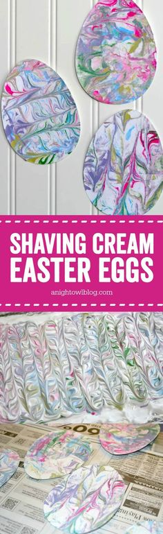 Shaving Cream Painted Easter Eggs - such a fun and easy Easter Craft for the kiddos!