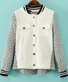 White Long Sleeve Embroidered Hollow Jacket - Sheinside.com