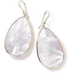 Ippolita 18k Rock Candy Large Teardrop Earrings in Clear Quartz (€1.305) ❤ liked on Polyvore featuring jewelry, earrings, mother of pearl, french hook earrings, teardrop earrings, rock earrings, 18k earrings and clear jewelry