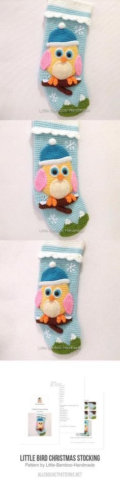 Little Bird Christmas Stocking Crochet Pattern for purchase