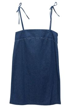 Throw on this little denim dress for the perfect summer outfit for a night on the town. Beach Dresses, Blue Dresses, Blue Party Dress, Party Dresses, Blue Denim Dress, Blue Colour Dress, Affordable Clothes, Tie Dress, Simple Dresses