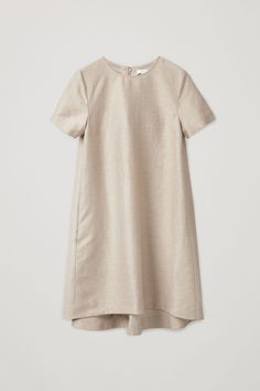 Front image of Cos linen dress with pleated back in beige Shabby Look, Minimal Outfit, Textiles, Linen Dresses, Bride Dresses, Monochrom, Elegant, Shirt Shop, Shirt Style