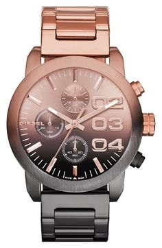 Free shipping and returns on DIESEL® 'Flare' Chronograph Bracelet Watch, 40mm at Nordstrom.com. Chronograph subdials and stylized numerals detail the polished dial of a sophisticated bracelet watch.