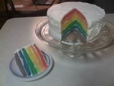 My first attempt at a Rainbow Cake in Layers, lots of fun to do!