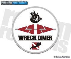 Ship Wreck Diver Scuba Diving Sticker Decal