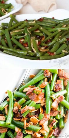 Pan Fried Green Beans Almondine Recipe with Bacon and Garlic - Want to know how to cook fresh green beans in the most delicious way ever? Try pan fried green beans almondine with bacon and garlic. Just 6 ingredients! Pan Green Beans, Green Beans With Almonds, Sauteed Green Beans, Green Beans With Bacon, Fried Green Beans, Green Beans And Shallots, Italian Green Beans, Asparagus Beans, Green Bean Dishes