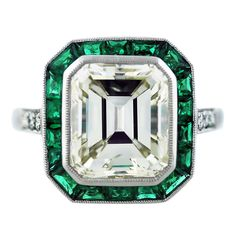 5 Carat Emerald Cut Diamond Emerald Plantinum Engagement Ring