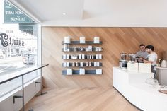 OpenScope Studio coverts nail salon into San Francisco cafe with tiled front counter | Architect Lover