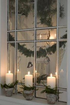 Swedish Christmas decoration - maybe the flower pot candles.One Great idea for different Christmas decoration of our home. Noel Christmas, Christmas Candles, Country Christmas, All Things Christmas, Winter Christmas, Christmas Crafts, Natural Christmas, Simple Christmas, Christmas Windows