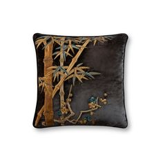 Ariana Cushion on Capri Silk Velvet - Midnight