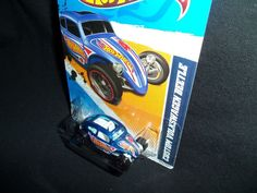 Hot Wheels 2012 Custom Volkswagen Beetle VW HW Racing 176/247 Blue #HotWheels