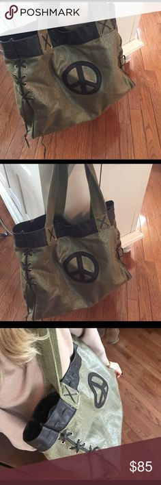 Over sized peace sign tote! Amazing greenish gold peace sign tote. gogo Bags Totes
