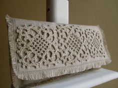 Hemp Lace Motif Linen Clutch - Unbleached, Crocheted, Shabby Chic. $70.00, via Etsy.