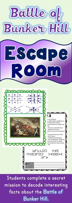 The Battle of Bunker Hill Escape Room will take students on a secret mission around the classroom! This escape room has students decode interesting facts about the Battle of Bunker Hill. This is the perfect resource to introduce the Revolutionary War. The Battle of Bunker Hill Escape Room has students walking around the classroom breaking codes. Students are given a secret code name and sent on a secret mission to help Colonel Prescott. 4th Grade Social Studies, Social Studies Classroom, Social Studies Activities, History Classroom, Teaching Social Studies, Student Teaching, History Activities, Classroom Activities, Teaching Us History