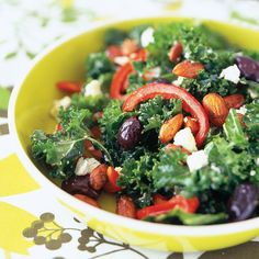 Kale Salad with Almonds and Red Peppers