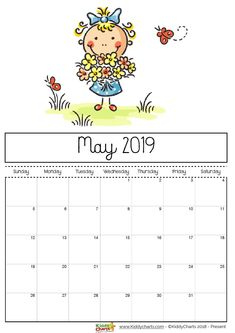 May printable 2019 calendar - girl picking flowers, but ones she is meant to of course! #prtintables #kidsprintables #2019calendar
